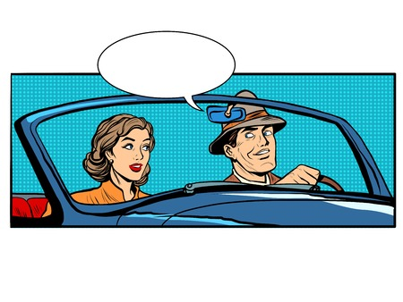 Couple man and woman in convertible car pop art retro style. The driver and passenger. Transport on the road Çizim