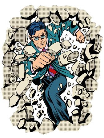 power business businessman breaks wall pop art retro style. Breakthrough business leader. Superhero Vectores