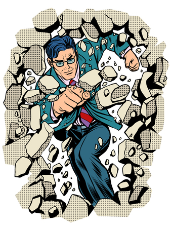 power business businessman breaks wall pop art retro style. Breakthrough business leader. Superhero