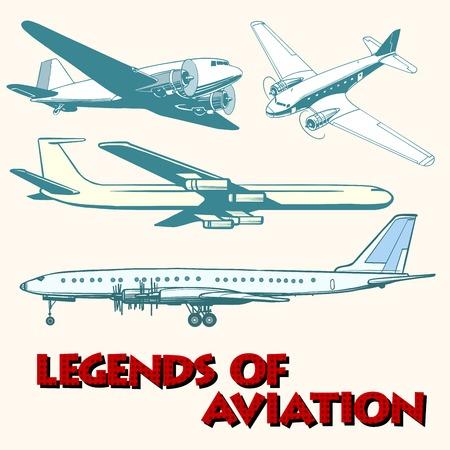 avion caricatura: Conjunto de aviones retro abstracto del estilo del estallido retro del art. Leyendas de la aviaci�n. Transporte a�reo
