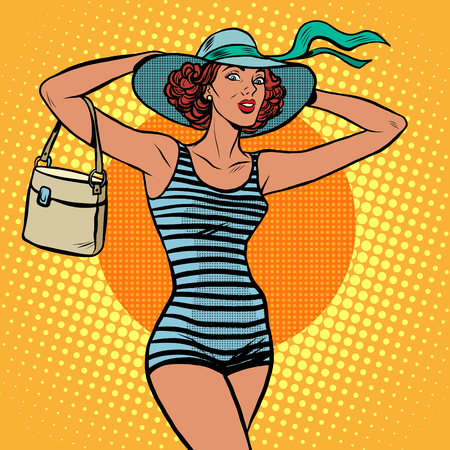 beach: Girl retro bather pop art retro style. A beach holiday. Travel and tourism. Beautiful girl