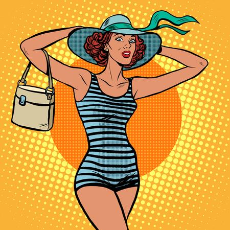 reise retro: Mädchen Retro Badende Pop-Art Retro-Stil. Ein Strandurlaub. Reisen und Tourismus. Schönes Mädchen