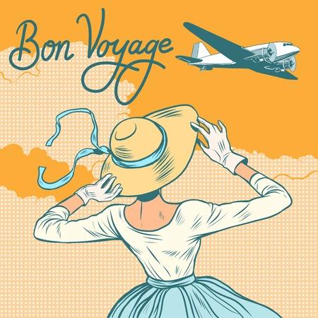 plane meisje passagier Bon voyage pop art retro stijl. Meisje ontmoet of ziet uit het vliegtuig.
