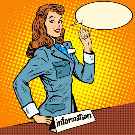 Girl consultant information Desk pop art retro style. Help knowledge questions. Business service. A woman at work