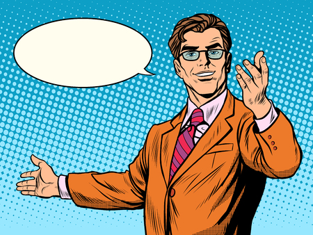 businessman welcome business concept pop art retro style. The man invites Stock Illustratie