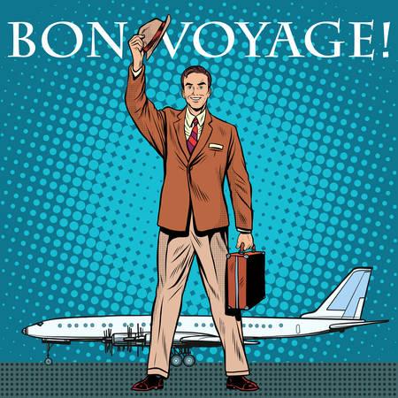 hombre caricatura: estilo retro Bon negocios viaje de pasajeros del aeropuerto arte pop. Tener un vuelo seguro. Viaje y Turismo.