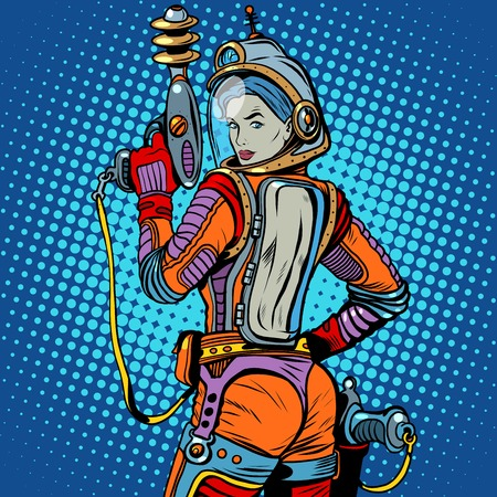Chica espacio marino ciencia ficción retro pop art estilo retro. El arma del futuro. El ejército y los soldados. La chica con el arma