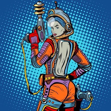 pin up vintage: spazio Ragazza marino fantascienza retrò pop art stile retrò. L'arma del futuro. L'esercito e soldati. La ragazza con l'arma