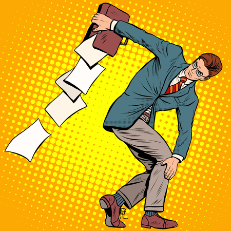 thrower: businessman discus thrower pop art retro style. Sports and business concept. Leader and documents