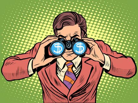 observer: Financial monitoring of currency dollar businessman binoculars pop art retro style Illustration