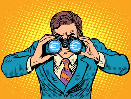 Financial monitoring of currency Euro businessman binoculars pop art retro style Stock Illustratie