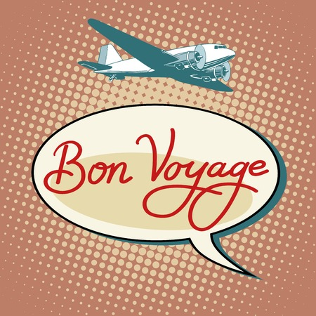 airport cartoon: Bon voyage plane tourism flights pop art retro style. Air transport. Airport and travel Illustration