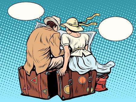 couple voyageant carte d'itinéraire ressemble style rétro pop art. touristes masculins et féminins. vacances d'été de concept d'affaires Vecteurs