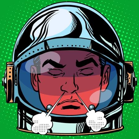 enojo: emoticon rabia rabia Emoji la cara del hombre del estilo del arte pop retro retro astronauta. Cara emociones. emoticon del vector