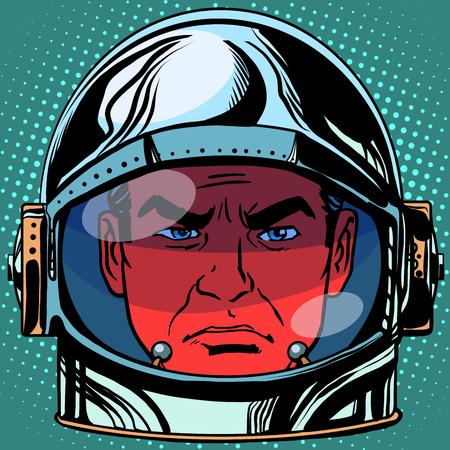 red eye: emoticon evil Emoji face man astronaut retro pop art retro style. Emotions face. Vector emoticon