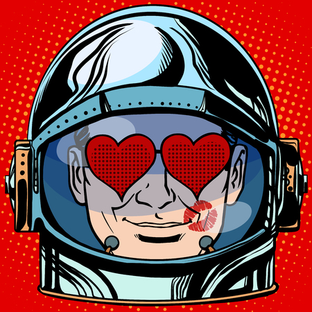 love symbols: emoticon lover Emoji face man astronaut retro pop art retro style. Emotions face. Vector emoticon Illustration