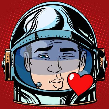 love symbols: emoticon kiss love Emoji face man astronaut retro pop art retro style. Emotions face. Vector emoticon