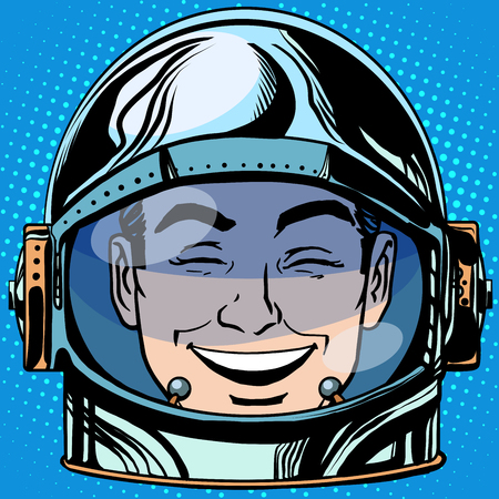 laughter: emoticon laughter Emoji face man astronaut retro pop art retro style. Emotions face. Vector emoticon