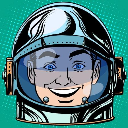hombre caricatura: emoticon alegr�a risas Emoji cara del hombre astronauta del estilo del arte pop retro retro. Cara emociones. emoticon del vector