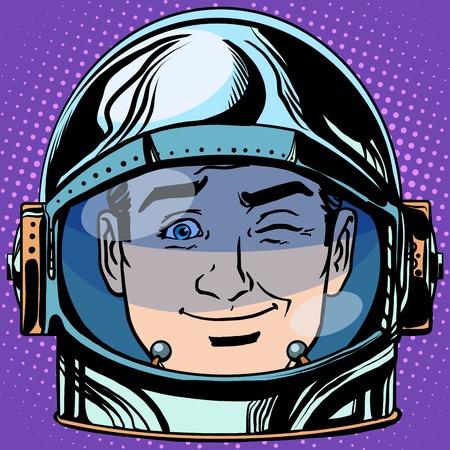 volto uomo: emoticon occhiolino Emoji uomo faccia astronauta retr� pop art stile retr�. Emozioni faccia. Vector emoticon Vettoriali