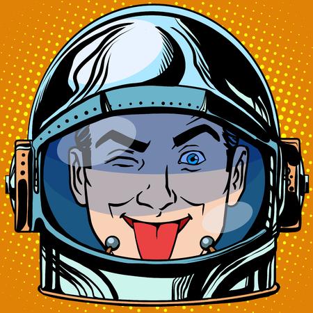 prankster: emoticon tongue Emoji face man astronaut retro pop art retro style. Emotions face. Vector emoticon
