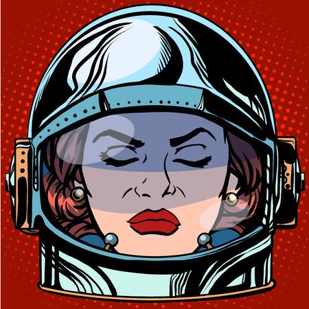 enojo: emoticon ira Emoji cara mujer astronauta del estilo del arte pop retro retro. Cara emociones. emoticon del vector
