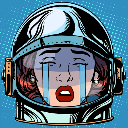 crying eyes: emoticon cry Emoji face woman astronaut retro pop art retro style. Emotions face. Vector emoticon Illustration