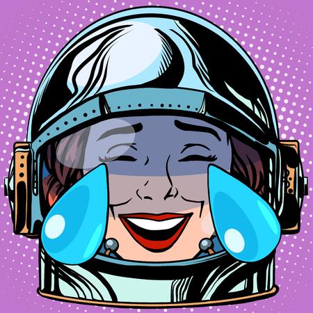 girl in love: emoticon tears of joy Emoji face woman astronaut retro pop art retro style. Emotions face. Vector emoticon