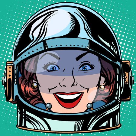 emoticon joy smile Emoji face woman astronaut retro pop art retro style. Emotions face. Vector emoticon