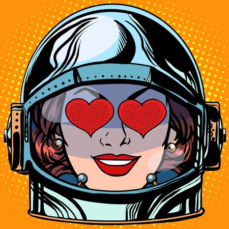 woman in love: emoticon love Emoji face woman astronaut retro pop art retro style. Emotions face. Vector emoticon