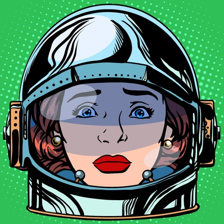 retro cartoon: emoticon sadness Emoji face woman astronaut retro pop art retro style. Emotions face. Vector emoticon
