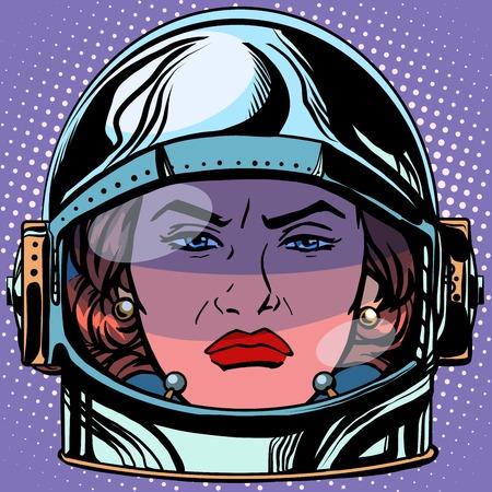 rage: emoticon rage Emoji face woman astronaut retro pop art retro style. Emotions face. Vector emoticon