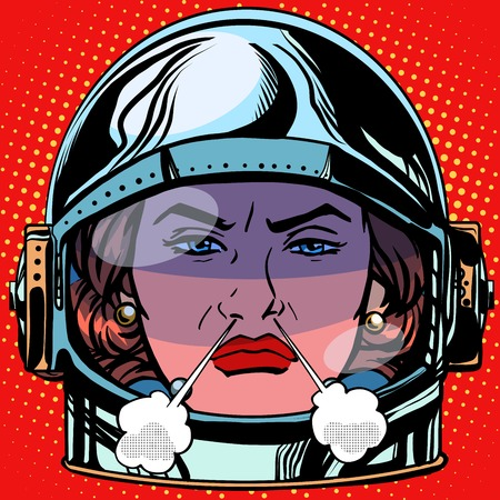 malice: emoticon rage boiling water Emoji face woman astronaut retro pop art retro style. Emotions face. Vector emoticon Illustration