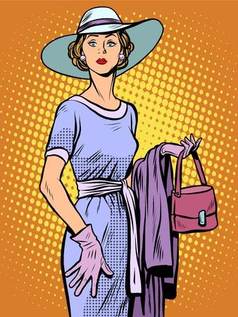 dame élégante dans une belle robe et un chapeau pop art style rétro. Belle femme. Aristocrate