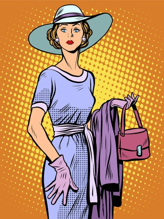 aristocrat: Elegant lady in beautiful dress and hat pop art retro style. Beautiful woman. Aristocrat