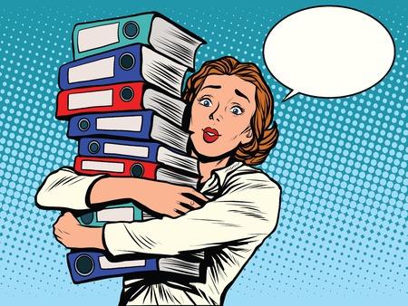 Het meisje accountant jaarverslagen pop-art retro stijl. De business statements. Belastingen en boekhouding.