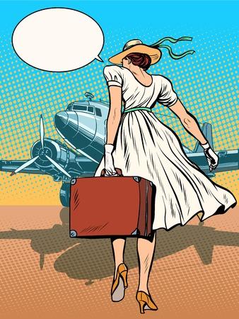 ragazza innamorata: aerei passeggeri signora con Deposito pop art stile retr�. voli Retro in aeroporto