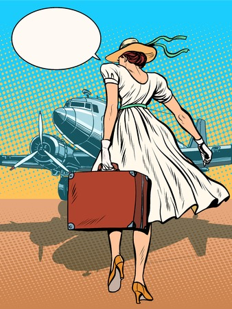Lady passenger aircraft with Luggage pop art retro style. Retro flights in the airport