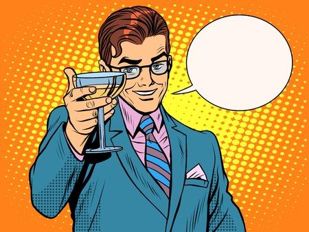 prost Mann trinkt Kunst Retro-Stil Alkohol Cocktail-Party-Pop. Urlaub und Feier Vektorgrafik