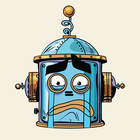 science and technology: emoticon cry robot head, pop art retro style.