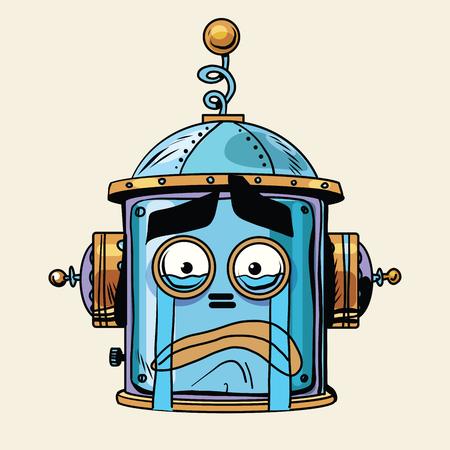 robot head: emoticon cry robot head, pop art retro style.