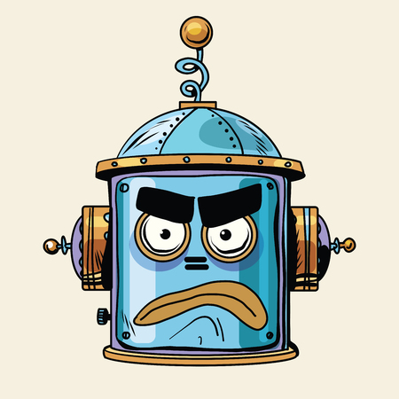 絵文字怒っているロボットの頭は、ポップなアート レトロなスタイル。