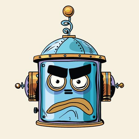 emoticon angry robot head, pop art retro style. Illustration