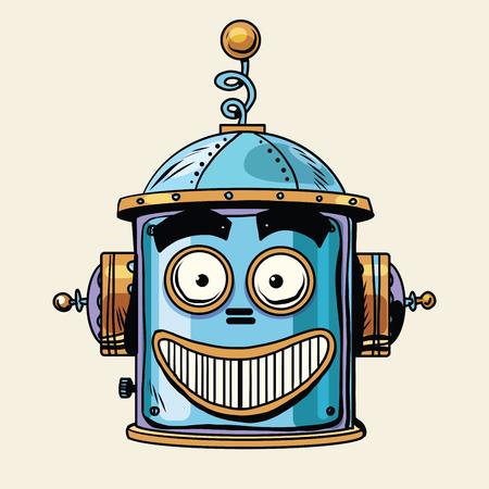 caras de emociones: emoticon feliz la cabeza del robot, estilo retro pop art.