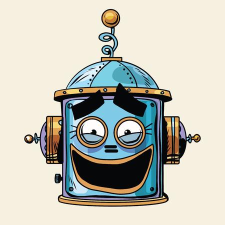 emoticon funny robot head, pop art retro style.