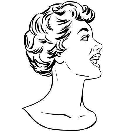 modern girl: Girl agitator pop art retro style line art