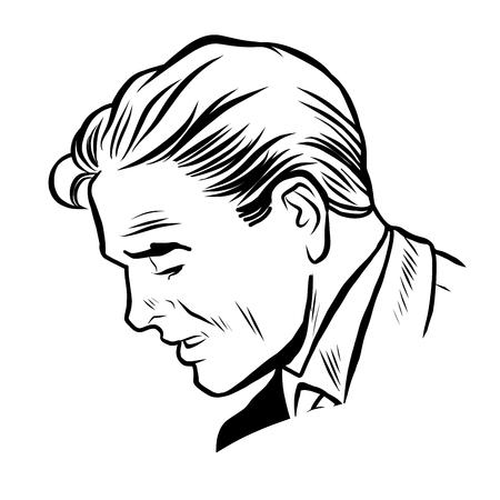 viso uomo: L'uomo d'affari pop art retrò linea di stile art. Vector silhouette di un uomo