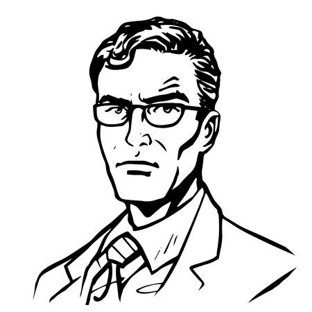 Man zakenman pop art retro stijl lijntekeningen. Vector silhouet van een man