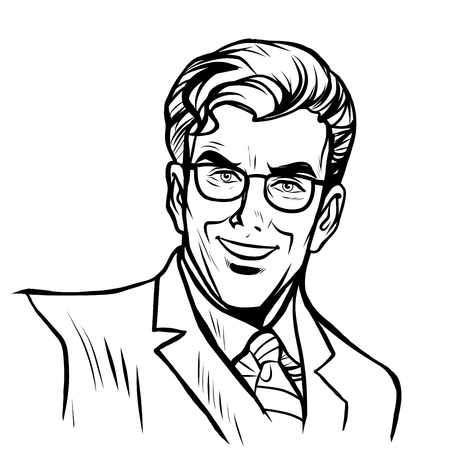 Man zakenman pop art retro stijl lijntekeningen. Vector silhouet van een man Vector Illustratie