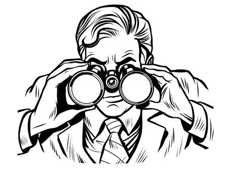 双眼鏡ライン アート ポップアート レトロ スタイル ライン アートとセンチネル警備員  イラスト・ベクター素材